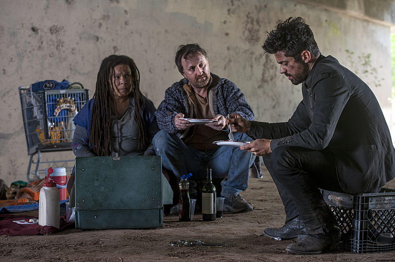 Dominic Cooper as Jesse Custer, Ramona King as Jackie, Richard Levi as Nate, <em>Preacher</em>
