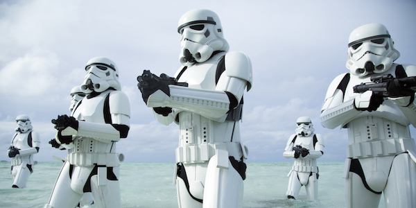 Stormtroopers marching in Rogue One