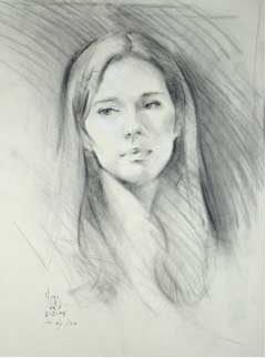 charcoal and white chalk on buff paper