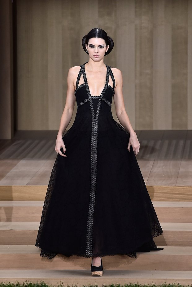 Kendall Jenner walks the runway during the Chanel SS16 haute couture show at Paris Fashion Week