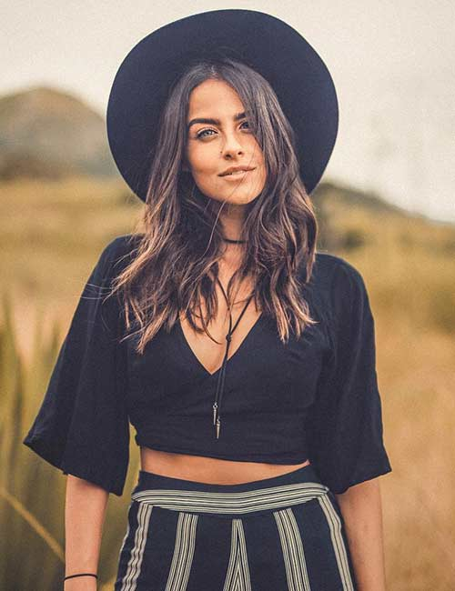 11. Strip Palazzos, Crop Top, And Hat